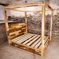 Ecole Eclectic Four Poster Platform Bed with Four Drawers From Reclaimed Wood