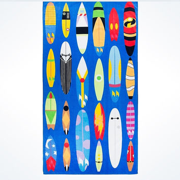Disney Parks Mickey & Friends Character Surfboards Beach Towel New with Tags