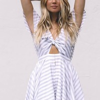 Be The One Cloud Grey Striped Knot Romper