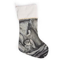 """Abstract Anarchy Design """"Inner Chaos """" Black Abstract Christmas Stocking"""