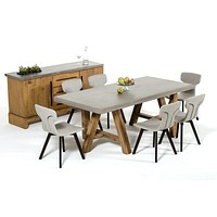 Ella Concrete & Acacia Dining Set/Table, Buffet, Chairs