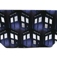 Dr Who,  Tardis,  knitting project bag, Travel Pouch,  Planner Pouch, Makeup Bag, Toiletry Bag, Zipper Pouch