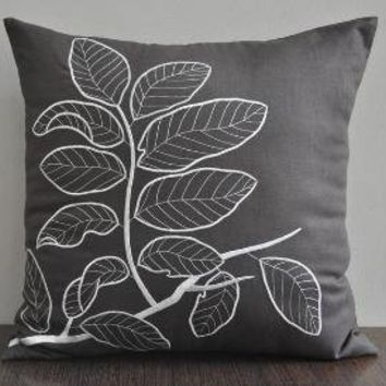 Leaves Branch Throw Pillow Cover 18 x 18 Linen by Kainkain
