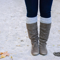 Grey Boot Warmers - Boot Cuffs - Boot Socks
