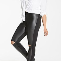 Black Cut Out PU Leather Plus Size Skinny High Waisted Casual Long Pants