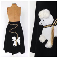 Authentic Vintage 1950's 1960's Chain Poodle Skirt Black White Wool Circle Skirt Size Small High Waist Turnabout A line Rockabilly Skirt