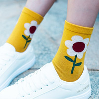 New Arrived Korean Style Fashion Socks Women Winter sunflower Flower Candy Color Hand-made Socks