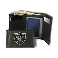 Raiders Embroidered Leather Tri-Fold Wallet