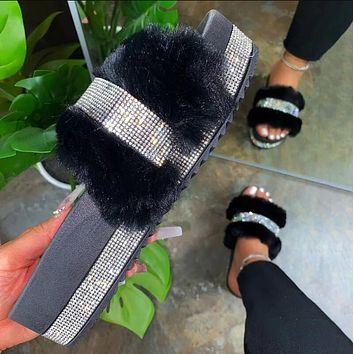 Black Fur Bling Slipper Sandals