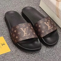 Louis Vuitton LV Fashionable Girls Boys Flats Slipper Sandals Couples Beach Shoes Coffee