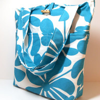 Floral Laptop Bag - Made To Order - Turquoise - Floral Chevron- Zipper Pocket - Velcro Loops Cord Holder - Five Pocket - Button Close