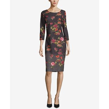 Eci Ombre Print Sheath Dress, Size 14