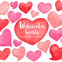 SALE. Watercolor Hearts Clipart. Hand Painted Heart Watercolor Clip Art. Red, Pink & Pastel Peach Love, Valentines Day, Mothers Day Clipart.