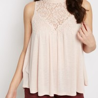 Pale Pink Crochet Yoke Babydoll Tank by Clover + Scout | Going Out Tank Tops | rue21