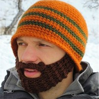 Knitted Crochet Wacky Beard Hats Warm Handmade Caps For Men Bicycle Mask Winter Face Masks Man Hat Funny Gift Multi Colors