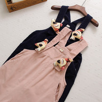 Mori Girl Deer Brooch Loose Casual Corduroy Overalls Literary Pants