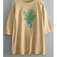 Plant Embroidery Round Neck 3/4 Sleeve T-Shirt