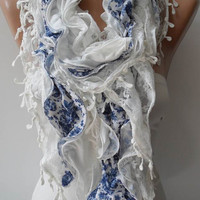 White and Blue Lace and Cotton Scarf - Summer Colors