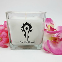 World of Warcraft, Warcraft Candle, Horde Symbol, For the Horde, Gamer Gift, Nerd Gift, Personalized Gift, Custom Candle, Geek Gift