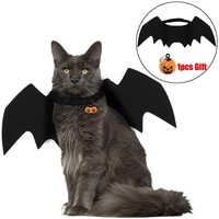 Halloween Cat Bat Wings Collar Harness Decor Puppy Pet Cat Black Bat Dress Up Funny Wing Cat Clothes Accessories Christmas Gifts