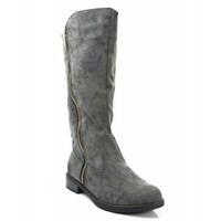 Qupid Turner-17 Distressed NuBuck Mid Calf Zipper Round Toe Motorcycle Boot GREY