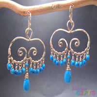"""Hammered swirl shapes with turquoise, 1-1/2"""" Earring Gold Or Silver"""
