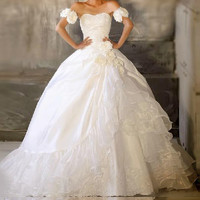 Charming Sweetheart Neck Beading and Flower Design Women's Tiered Flounce Wedding Dress