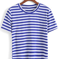 Round Neckline Striped Blue T-Shirt