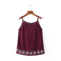 Summer Sexy Boho Style Crop Tops Sleeveless Camisole Embroidered Tank Top = 4768816708