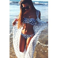 Cupshe Navy Blue Diamond Print Bikini Sets