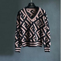 Fendi Women V-Neck Long Sleeve Pullover