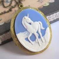 Vintage Inspired Whimsical Style. The last unicorn Cameo Locket long necklace. Large Oval Brass Locket. Brass Jewelry