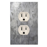 Wall Plug Outlet Cover Decal Sticker Brushed Metal Texture OU13