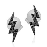 Black Diamond Double Lightning Bolt Stud Earring