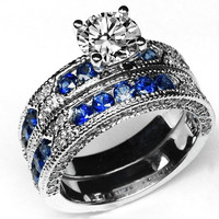 Engagement Ring - Vintage Engagement Ring Blue-Sapphire Accents & Matching Wedding Band - ES739BRBS