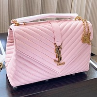 Hipgirls YSL Fashion New Leather Handbag Shoulder Bag Crossbody Bag Pink