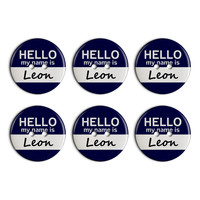 Leon Hello My Name Is Plastic Resin Button Set of 6