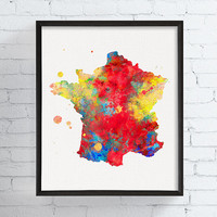France Map, France Art Print, Watercolor Map, Map Poster, Map Painting, France Poster, Framed Art, Custom Color, Travel Poster, Countries