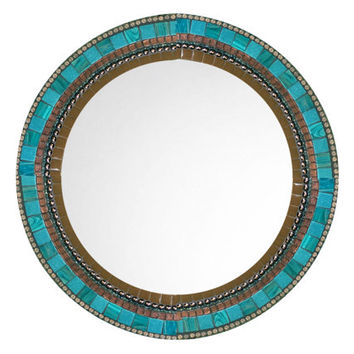 Round Wall Mirror, Brown and Aqua Mosaic, Decorative Mirror, Mosaic Mirror, Wall Decor, Brown Teal Home Decor