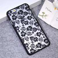 Black Lace Clover Leaf Case Cover for iPhone 5s 6 6s Plus Gift