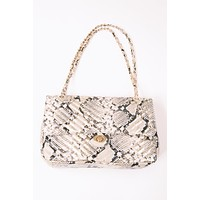 Collins Large Quilted Crossbody, Snake Gold