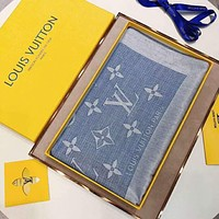 LV Louis Vuitton Stylish Classic Women Cashmere Scarf Shawl Silk Scarf Blue I-YH-FTMPF