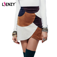 LIENZY 2016 Spring Women Suede Skirts High Waist Fashion Sexy Hit Color Stitching Package Hip Irregular Womens' Pencil Skirt