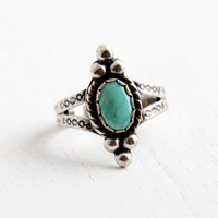 Vintage Sterling Silver Turquoise Ring- Size 7.5 Retro Hallmarked Bell Trading Co Southwestern Native American Style Jewelry