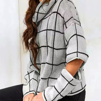 Gray Plaid High Roll Neck Zipper Detail Knitted Sweater