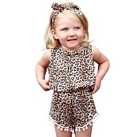 Baby Girl Leopard Pom Pom Romper with Headband