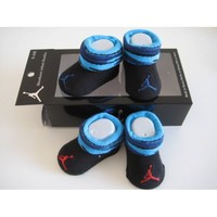Nike Jordan Booties Girl Boy Baby Infant 0-6 Months Black/blue with Jumpman23 Sign 2 Pairs One Set New