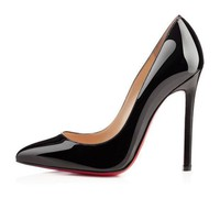 DCCK2 christian louboutin cl pigalle black patent leather 120mm stiletto heel classic