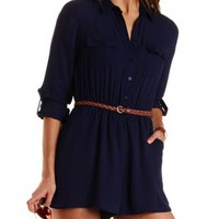 Belted Button-Up Chiffon Romper by Charlotte Russe