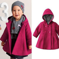 Baby Girls Winter Warm Hooded Coat 2016 New Baby Toddler Girls Fall Winter Horn Button Hooded Pea Coat Outerwear Jacket